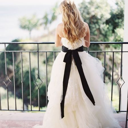 Monochrome wedding ideas white bridal gown with black sash
