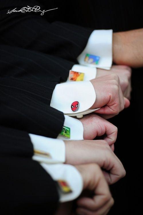 Geek chic wedding inspiration super hero cufflinks