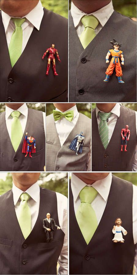Geek chic wedding inspiration super hero boutonnieres