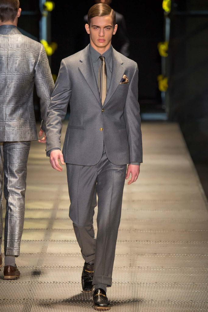 Versace Fall 2015 menswear groom trends shine