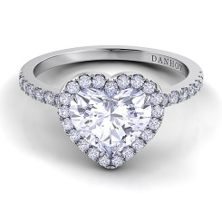 Style LE105-HS, Per Lei single shank heart engagement ring with pavé band and diamond halo, $3,180, Danhov