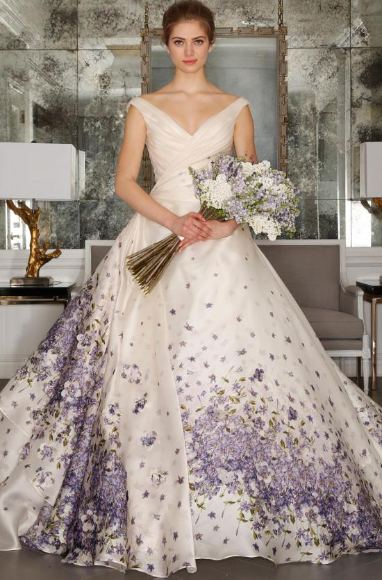 floral and coloured wedding dress