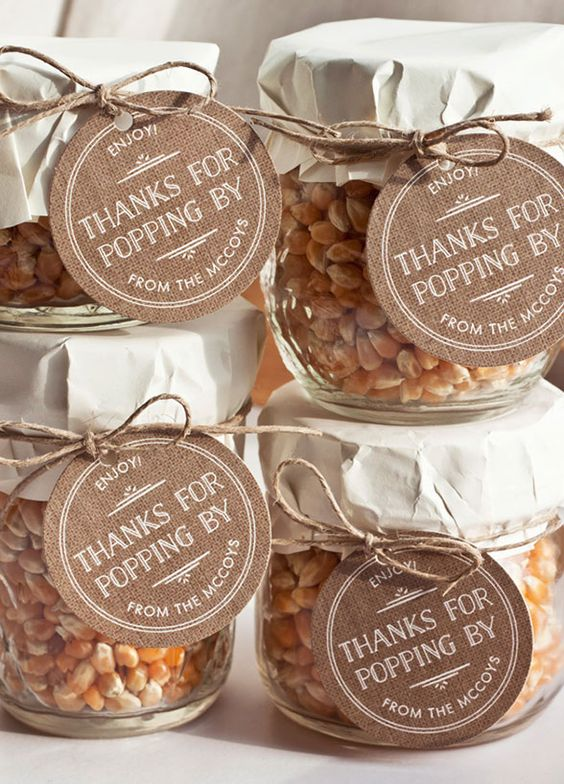 autumn wedding favours popcorn